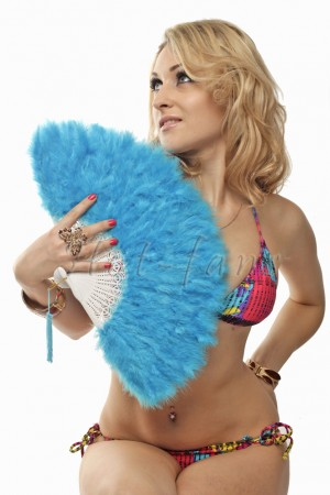 Blue petite Marabou feather fan costumes Ladies Fancy Dress Wedding party 20""