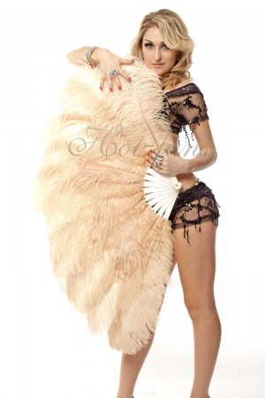 "camel 2 layers Ostrich Feather Fan Burlesque dancer friends 30""x 54"" with leather travel Bag"