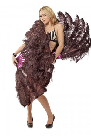 "coffee 2 layers Ostrich Feather Fan Burlesque dancer friends 30""x 54"" with leather travel Bag"