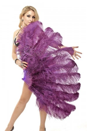 "dark purple 2 layers Ostrich Feather Fan Burlesque dancer friends 30""x 54"" with leather travel Bag"
