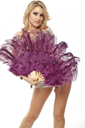 "drak purple Marabou Ostrich Feather fan primary Burlesque Dance 21""x38"" with Travel leather Bag"