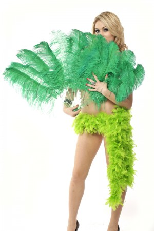 "Emerald green single layer Ostrich Feather Fan 25""x 45"" with leather travel Bag"