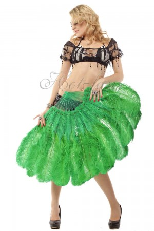 "emerald green 2 layers Ostrich Feather Fan Burlesque dancer friends 30""x 54"" with leather travel Bag"