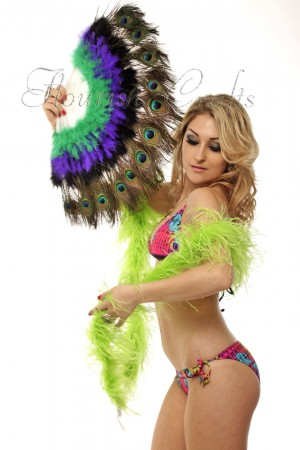 mix colors g-p-d Double faced Peacock Eye Marabou Feather Fan engraved plastic frame