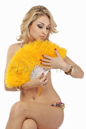 GOLD YELLOW petite Marabou feather fan costumes Ladies Fancy Dress Wedding party 20""