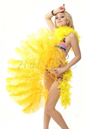 "gold yellow single layer Ostrich Feather Fan 25""x 45"" with leather travel Bag"