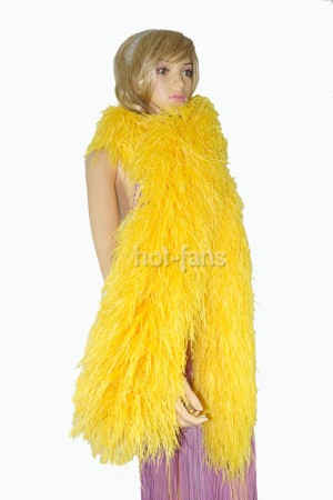 "Gold yellow 20 plys full and fluffy Luxury Ostrich Feather Boa 71""long (180 cm)"