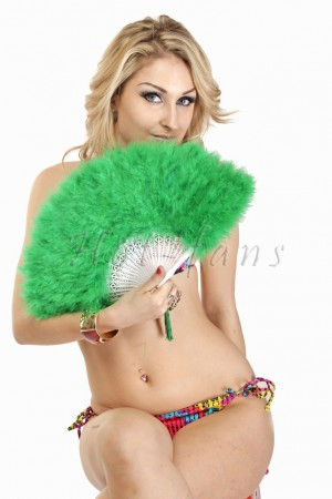 green petite Marabou feather fan costumes Ladies Fancy Dress Wedding party 20""