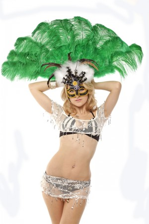 "emerald green Ostrich & Marabou Feathers fan Burlesque dance with carrying case 24""x43"""
