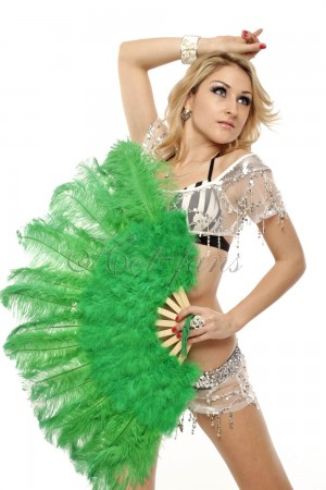 "green Marabou Ostrich Feather fan primary Burlesque Dance 21""x38"" with Travel leather Bag"