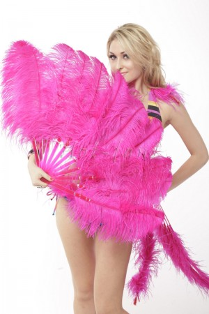 "hot pink single layer Ostrich Feather Fan Burlesque friend 25""x 45"" with leather travel Bag"