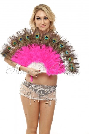 hotpink Double faced Peacock Eye Marabou Feather Fan engraved plastic frame