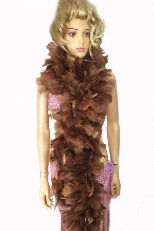 "COFFEE 71 ""LONG SOFT CHANDELLE TURKET FEATHER BOA SHOWGIRL DANCE FANCY DRESS"