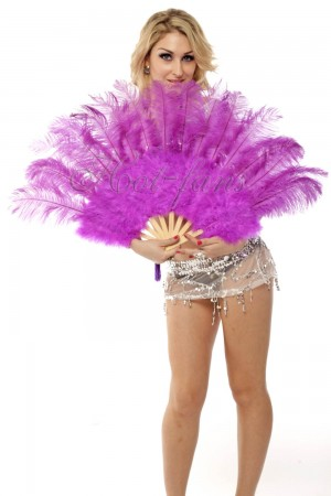 "lavender Marabou Ostrich Feather fan primary Burlesque Dance 21""x38"" with Travel leather Bag"