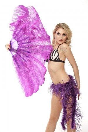 "lavender 2 layers Ostrich Feather Fan Burlesque dancer friends 30""x 54"" with leather travel Bag"