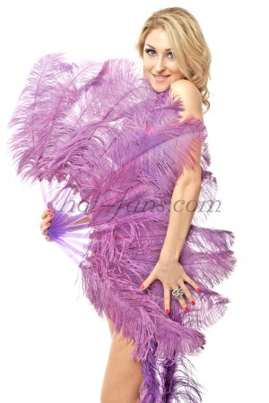 "lavender single layer Ostrich Feather Fan 25""x 45"" with leather travel Bag"