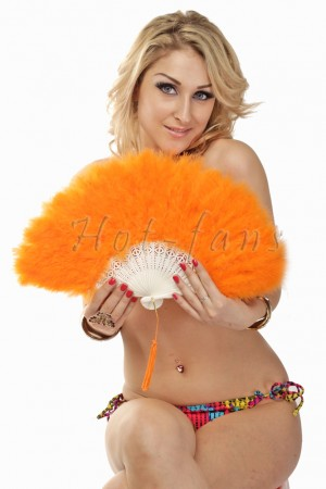 orange petite Marabou feather fan costumes Ladies Fancy Dress Wedding party 20""