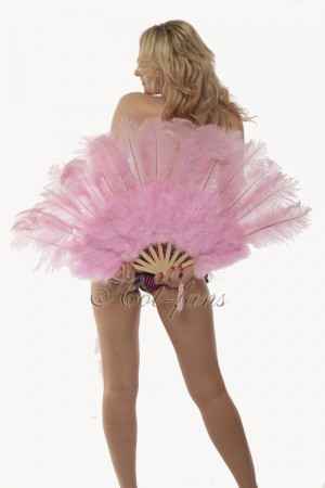 "Pink Marabou Ostrich Feather fan primary Burlesque Dance 21""x38"" with gift box"