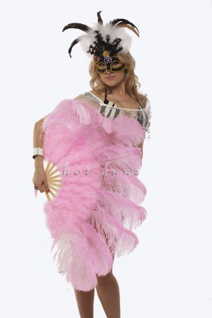 "Pink Ostrich & Marabou Feathers fan Burlesque dance with Travel leather Bag 24""x43"""