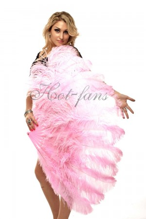 "pink 2 layers Ostrich Feather Fan Burlesque dancer friends 30""x 54"" with leather travel Bag"