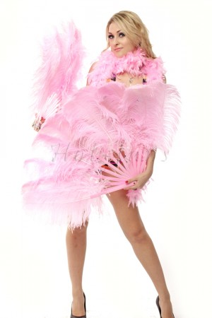 "Pink single layer Ostrich Feather Fan 25""x 45"" with leather travel Bag"