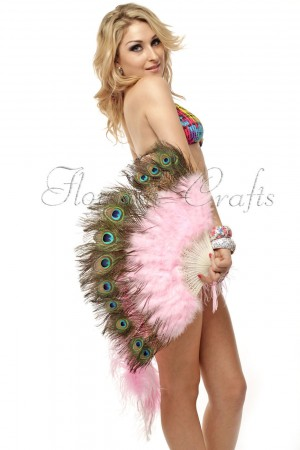 pink Double faced Peacock Eye Marabou Feather Fan engraved plastic frame