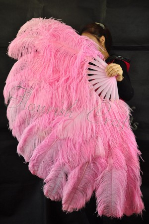 """pink  XL 2 layers Ostrich Feather Fan Burlesque dancer friends 34""""x 60"""" with leather travel Bag"""