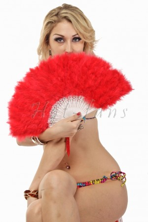 RED petite Marabou feather fan costumes Ladies Fancy Dress Wedding party 20""