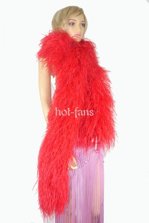 "Red 20 plys full and fluffy Luxury Ostrich Feather Boa 71""long (180 cm)"