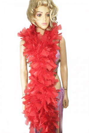 "RED 71 ""LONG SOFT CHANDELLE TURKET FEATHER BOA SHOWGIRL DANCE FANCY DRESS"