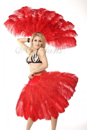 """red 2 layers Ostrich Feather Fan Burlesque dancer friends 30""""x 54"""" with leather travel Bag"""