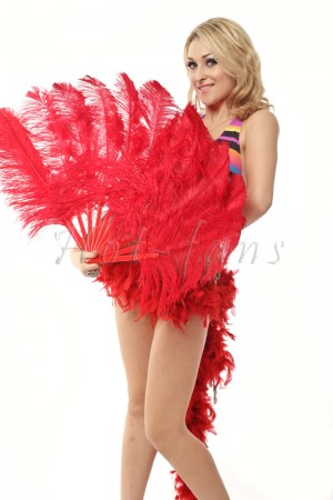 "Red single layer Ostrich Feather Fan 25""x 45"" with leather travel Bag"