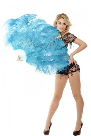 "sky blue 2 layers Ostrich Feather Fan Burlesque dancer friends 30""x 54"" with leather travel Bag"