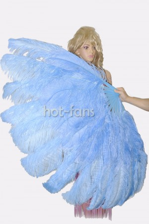 "Sky blue XL 2 layers Ostrich Feather Fan Burlesque dancer friends 34""x 60"" with leather travel Bag"