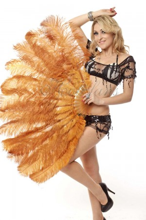 "topaz 2 layers Ostrich Feather Fan Burlesque dancer friends 30""x 54"" with leather travel Bag"