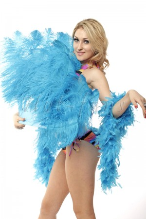 """Turquoise single layer Ostrich Feather Fan Burlesque friend 25""""x45"""" with gift box"""
