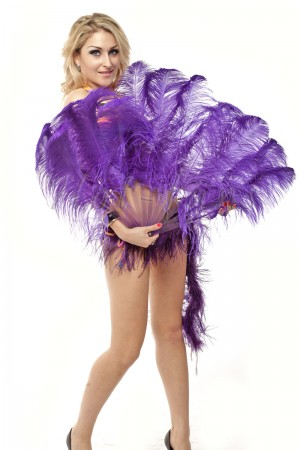 "violet single layer Ostrich Feather Fan 25""x 45"" with leather travel Bag"