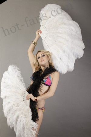 "White 2 layers Ostrich Feather Fan Burlesque dancer friends 30""x 54"" with leather travel Bag"