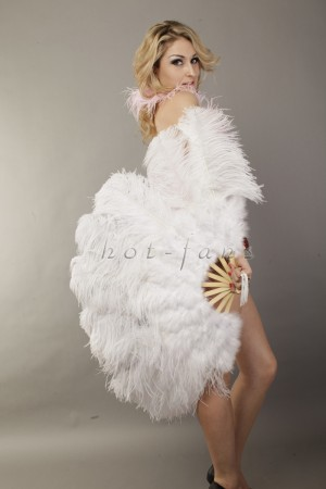 "White Ostrich Marabou Feathers fan Burlesque dance with with Travel leather Bag 24""x43"""