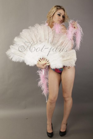 "white Marabou Ostrich Feather fan primary Burlesque Dance 21""x38"" with gift box"