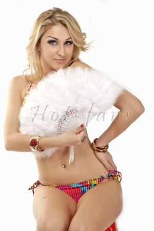 "white petite Marabou feather fan costumes Ladies Fancy Dress Wedding party 20"""