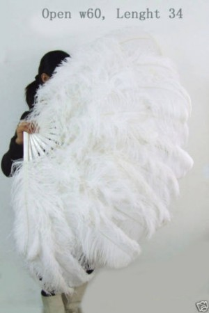 "white XL 2 layers Ostrich Feather Fan Burlesque dancer friends 34""x 60"" with leather travel Bag"