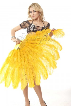 "gold yellow 2 layers Ostrich Feather Fan Burlesque dancer friends 30""x 54"" with leather travel Bag"