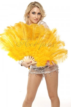 "yellow Marabou Ostrich Feather fan primary Burlesque Dance 21""x38"" with Travel leather Bag"