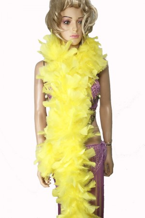 "YELLOW 71 ""LONG SOFT CHANDELLE TURKET FEATHER BOA SHOWGIRL DANCE FANCY DRESS"