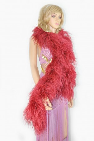 "12 ply burgundy Luxury Ostrich Feather Boa 71""long (180 cm)"