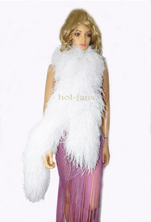 "White 20 plys full and fluffy Luxury Ostrich Feather Boa 71""long (180 cm)"