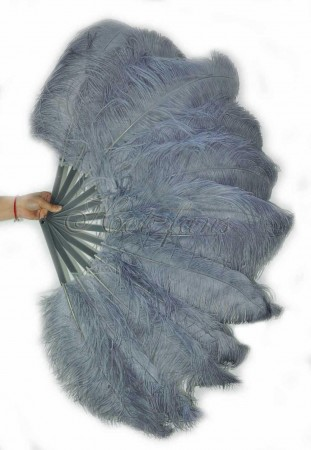 "Dark gray single layer Ostrich Feather Fan 25""x 45"" with leather travel Bag"