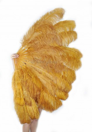 "Topaz XL 2 layers Ostrich Feather Fan Burlesque dancer friends 34""x 60"" with leather travel Bag"