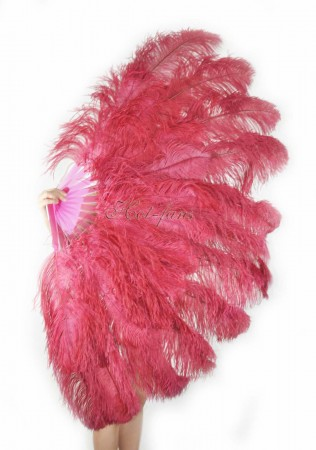 "Burbundy XL 2 layers Ostrich Feather Fan Burlesque dancer friends 34""x 60"" with leather travel Bag"